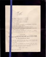 Doodsbrief Faire Part De Deces - Adel Noblesse - Mme William Van Renynghe De Voxvrie - Poperinge 1874 - Ixelles 1919 - Obituary Notices