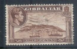 Gibraltar 1938-49 KGVI Pictorials 1d, Wmk Sideways, Perf 13.5x13.5 FU - Gibraltar