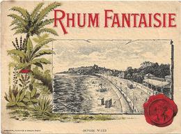 ETIQUETTE ANCIENNE HABERER, PLOUVIEZ & DOUIN . PARIS / RHUM FANTAISIE / SPECIMEN D' ETIQUETTE N° 5023 / DOS SCANNE - Rhum
