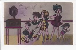 CPA ENFANTS Groupe Ecoutant De La Musique   Num 1 - Dessins D'enfants