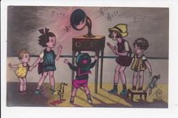 CPA ENFANTS Groupe Ecoutant De La Musique   Num 2 - Dessins D'enfants