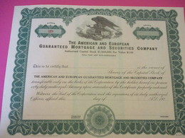 Share/ The American And European Guaranteed Mortgage And Sécurities Company/ DELEWARE/USA/ Vers 1920     ACT206 - Banque & Assurance