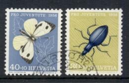Switzerland 1956 Welfare Insects, Butterfly, Beetle 30c, 40c FU - Switzerland