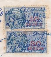 Timbre Fiscal (fiscaux) - 40 FRANCS N 96 Y & T + 30 FRANCS N 95 - UTILISATION  EN 1952 - Fiscaux