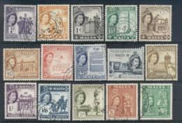 Malta 1956-57 QEII Pictorials Asst. To 5/- FU - Malta