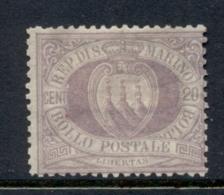 San Marino 1877-99 Coat Of Arms 20c Lilac MLH - San Marino