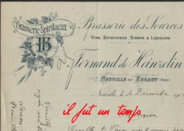 1905 / 59 NEUVILLE SUR ESCAUT /  Fernand De HEINZELIN - Brasserie Des Sources - 1900 – 1949