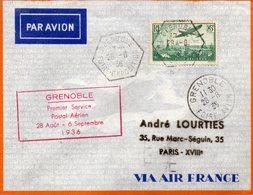 GRENOBLE-1er Service Postal Aérien Pour PARIS Le 28/8/1936. - 1927-1959 Matasellados