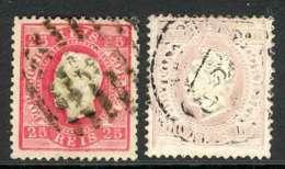 Portugal 1870-84 25r Rose, 100r Pale Lilac FU Lot9411 - Portugal