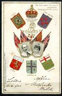 CARTOLINA CV2404 CASE REALI Coronation Souvenir 1902 King Edward VII, Viaggiata 1902 Da Londra Per L'Italia, Formato Pic - Case Reali