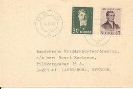 Norway Postcard Sent To Sweden Oslo 14-3-1973 - Norway