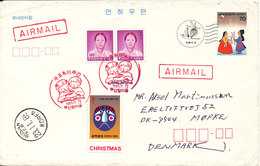 Korea South Uprated Postal Stationery Cover Sent Air Mail To Denmark Busan 23-11-1985 - Korea, South