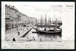 CARTOLINA CV2410 TRIESTE (TS) Riva Dei Pescatori, Formato Piccolo, Viaggiata 1901, Francobollo Asportato, Buone Condizio - Trieste