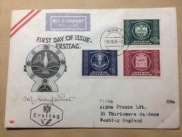 AUSTRIA 1949 FDC UPU Air Mail Wien Vienna To England With Censor Cachet To Rear - 1945-.... 2nd Republic