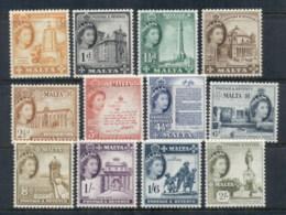 Malta 1956-57 QEII Pictorials Asst. To 2/- MLH - Malta