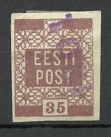 ESTLAND ESTONIA Estonie 1919 Michel 3 Provisional Line Cancel Provisorisches Stempel TORI - Estonie