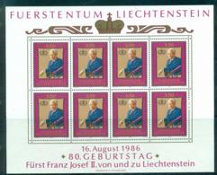 Liechtenstein 1986 Franz Joseph 80th Birthday Sheetlet MUH Lot58362 - Liechtenstein
