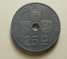 Belgium 25 Centimes 1942 Varnished - 1934-1945: Leopold III