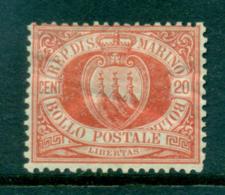 San Marino 1877-99 20c Vermillion Coat Of Arms (crease)MLH Lot40087 - San Marino