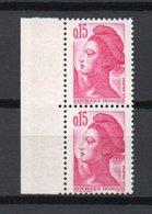 - FRANCE - Variété N° 2180 - 15 C. Rose Type Liberté 1982 - TRAIT SUR LA JOUE Tenant à NORMAL - - Abarten Und Kuriositäten