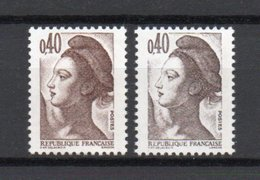 - FRANCE - Variété N° 2183 - 40 C. Brun Foncé Type Liberté 1982 - IMPRESSION DEPOUILLEE GRISE - - Abarten Und Kuriositäten