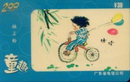 China Telecom Prepaid Cards, Air Balloon , Child, Bicycle,  Guangdong Province, (1pcs) - Sport