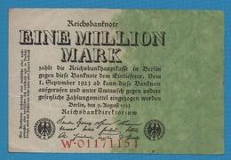 DEUTSCHES REICH 1 Million Mark09.08.1923Serie # W.01171154 KM# 101 - 1 Million Mark