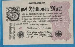 DEUTSCHES REICH 2 Millionen Mark 09.08.1923Serie VD KM# 104b - [ 3] 1918-1933 : Repubblica  Di Weimar
