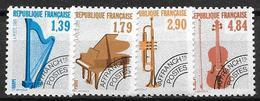France 1989 Préoblitérés N° 202/205 Neufs Musique à 20% De La Cote - Préoblitérés