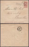 """BELGIQUE EP 10c OBL AMBULANT """" MIDI 2 """" 25/06/1894 + GRIFFE SOIGNIES VERS BRUXELLES (DD) DC-2117 - Entiers Postaux"""