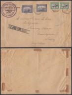 """BELGIQUE COB 143 X2+145 X2 SUR LETTRE 1920  GRIFFE """" PAR AVION """" AVEC FLEURON VERS ANGLETERRE TB (DD) DC-2143 - 1915-1920 Albert I"""