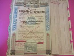 Certificat Nominatif D'Actions De 500 Francs Entiérement Libérées/Sté AUBY-MEDITERRANEE/MONTLUçON/ /1943       ACT209 - Agricoltura