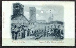 """CARTOLINA CV2433 REGGIO EMILIA (RE) Piazza Maggiore """"al Chiar Di Luna"""", Formato Piccolo, Viaggiata, Francobollo Asportat - Ravenna"""