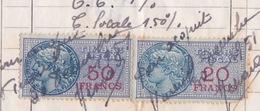 Timbre Fiscal (fiscaux) - 50 FRANCS N 97 Y & T + 20 FRANCS N° 93 - Revenue Stamps