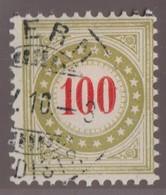 SUISSE Taxe 1908-1909:   100 C. Olive Brunâtre (ZNr 28B N) Oblitéré, Var. Chiffres Gras - Portomarken