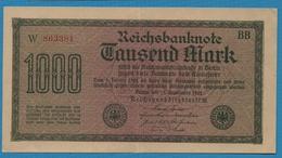 DEUTSCHES REICH 1000 Mark 15.09.1922Serie BB W 863381 KM# 76b - [ 3] 1918-1933 : Weimar Republic
