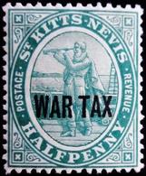 1916 St Kitts & Nevis Mi 22b .  Overprints . War Tax . Neuf Trace Charnièere - St.Christopher-Nevis-Anguilla (...-1980)