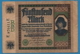 DEUTSCHES REICH 5000 Mark Spinelli (by Hans Memling)16.09.1922Serie# E 870411 E KM# 77 - [ 3] 1918-1933 : Weimar Republic