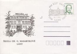 J0860 - Tschechoslowakei (1992) Ganzsachen / Präsident V. Havel: Lany - Schule Von Ch. G. Masaryk (600 Jahre Dorf) - Natur