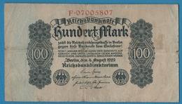 DEUTSCHES REICH 100 Mark04.08.1922Serie# F.07005807 KM# 75 - [ 3] 1918-1933 : Weimar Republic
