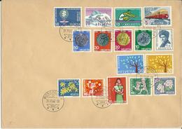385-390, WI 193-197, WII 108-112, Obl. Rüschlikon 31.XII.62 - Switzerland