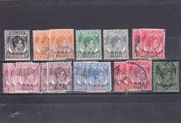 Malacca Administration Militaire Britannique Oblitéré  1945  N° 1/11 Sauf 4 Et 8  Timbres De Malacca Surchargés - Malaya (British Military Administration)
