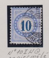 SUISSE Taxe 1882  10 C. Outremer  Papier Mêlé  (ZNr 10 II N) Oblitéré - Segnatasse