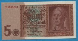 """DEUTSCHES REICH 5 Reichsmark  01.08.1942Serie # N.5595861  KM# 186b """"Löwendenkmal"""" - 5 Reichsmark"""