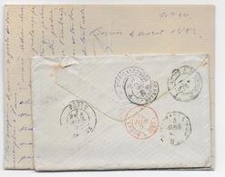 1882 - LETTRE De BEZIERS => NOUMEA Avec CACHET D'ARRIVEE VIOLET ! Puis READRESSEE => BREST - DESTINATION Avec SAGE - Neukaledonien