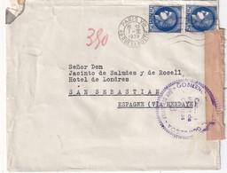 FRANCE 1939  LETTRE CENSUREE DE PARIS POUR SANS SEBASTIAN - Marcophilie (Lettres)
