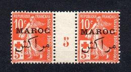 !!! PRIX FIXE : MAROC, PAIRE DU N°61 AU PROFIT DE LA CROIX ROUGE AVEC MILLESIME 5 NEUVE ** - Marruecos (1891-1956)