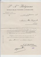 BELGIMMO - BANQUE BELGE - LIEGE - 3 DOCUMENTS - 1926 - Banque & Assurance