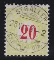 SUISSE Taxe 1884-86:  20 C. Vert Pâle  (ZNr 19B ), Superbe Oblitération - Portomarken