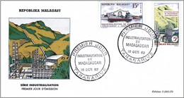 Madagascar 1962 - FDC - Electrification And Merchant Navy ( Mi 486 & 89 - YT 372 & 75 ) - Madagascar (1960-...)